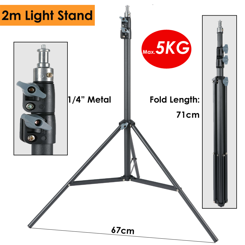 Heavy Duty Metal 2m Light Stand Max Load 5KG Tripod For Photo Studio Softbox Video Flash Reflector Lighting Background Stand