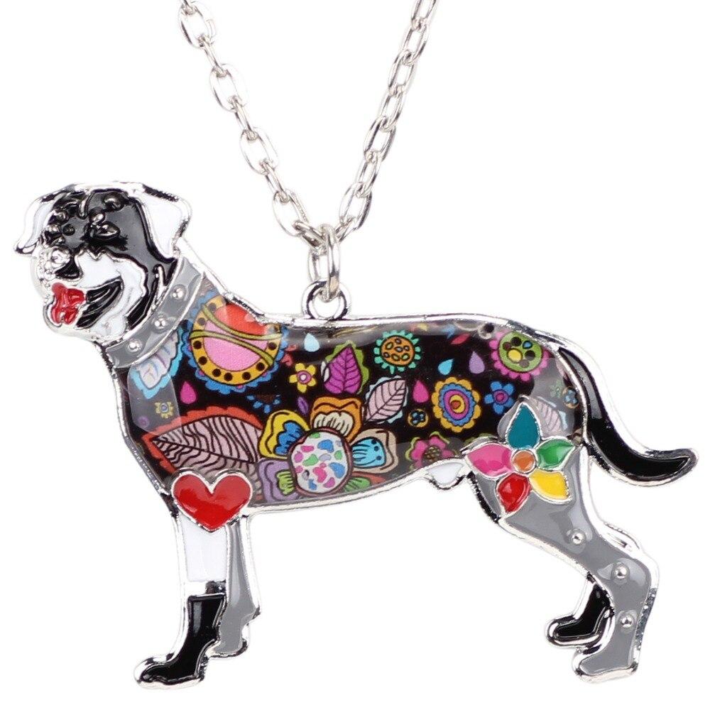 Bonsny Declarație Maxi Alamă smalt Rottweiler colier colier - Bijuterii de moda - Fotografie 4