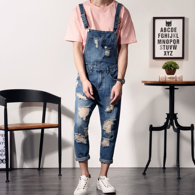 Classic Harajuku Personality Hole Ripped Jeans Jumpsuits Plus Size S-4XL Slim Fit Denim Overalls Summer Retro Boys Suspenders denim overalls male suspenders front pockets men s ripped jeans casual hole blue bib jeans boyfriend jeans jumpsuit or04