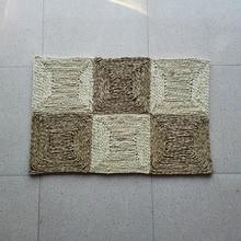 Handmade Stitch Straw Braided Door Mat Area Rug Corn Bran Floor Carpet For Living Room