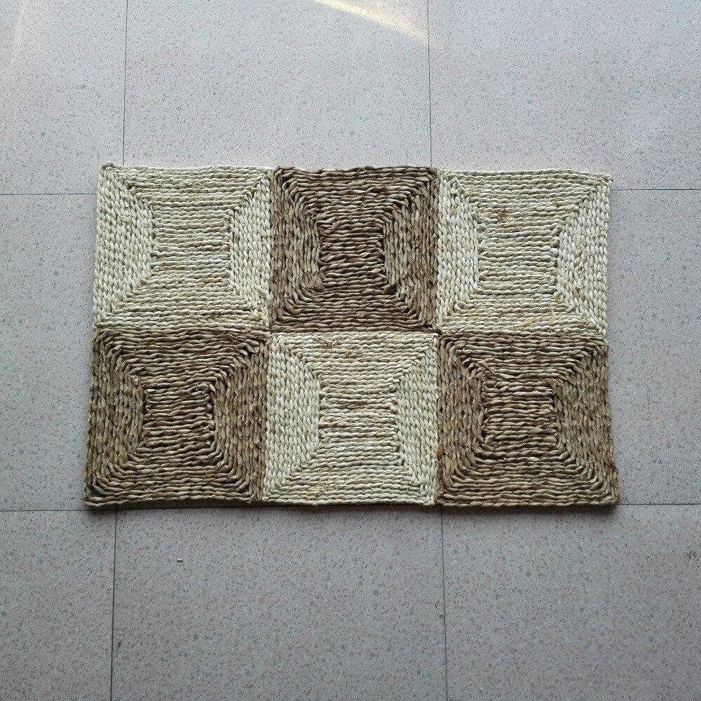 Tapis de porte tressé fait main en paille tapis de sol en son de maïs pour salon