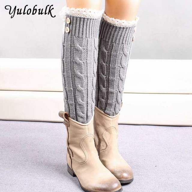 21109ad4850 Womens Lace Boot Socks Knit Button Leg Warmers Warm Twist Boot Cuffs Knee  High Long Leg Warmer Ladies Boot Topper Meias E Polain
