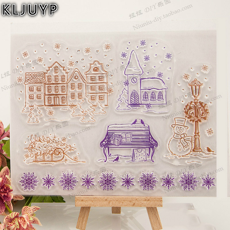 KLJUYP Winter House Transparent Clear Silicone Stamp/Seal for DIY scrapbooking/photo album Decorative clear stamp sheets