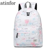 Trendy Cute Women Backpack Waterproof Female Personalized Geometric Printing School Book Bags for Girls Knapsack
