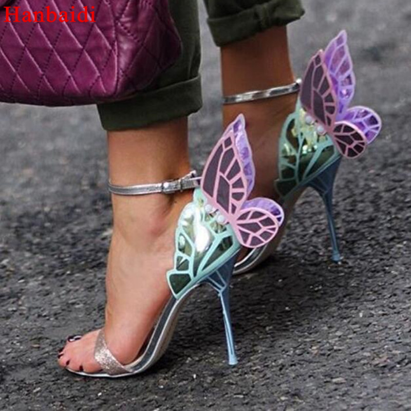 1c72b9c71ce Hanbaidi New Butterfly Sandals Angel Wings Pumps Party Wedding Ankle Wrap  Stiletto High Heels Glitter Sandals Women Shoes 2018