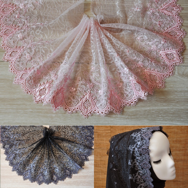 19cm(5meters/lot) free shipping Pink/ Grey black polyester lace trim mesh embroidered accessary Z1170