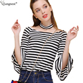 TANGNEST Flare Sleeve Women Tees and Tops Slash Neck Women Tees 2017 Striped T-shirt Thin Three Quarter Sleeve Crop Tops WTS1012