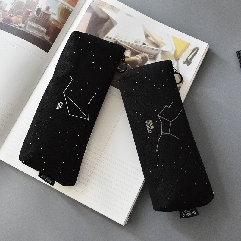 Fresh Pencil Bag Student Cotton and Linen Pencil Bag Female Constellation Stationery BagFresh Pencil Bag Student Cotton and Linen Pencil Bag Female Constellation Stationery Bag
