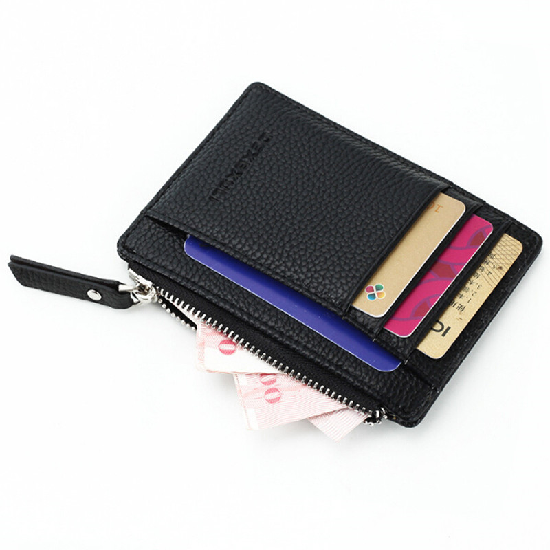 1 Pc Small Men Wallet Women Zipper Coin Pocket Ultra Thin Wallet  Wallet Mini Leather Card Holders 8 Card Slots Purse 6 Colors