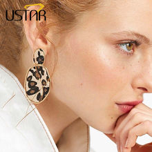 USTAR New Statement Leopard Earrings ZA Geometric Bohemia Dangle Drop Earring for Women 2018 Fashion Jewelry hanging Oorbellen(China)