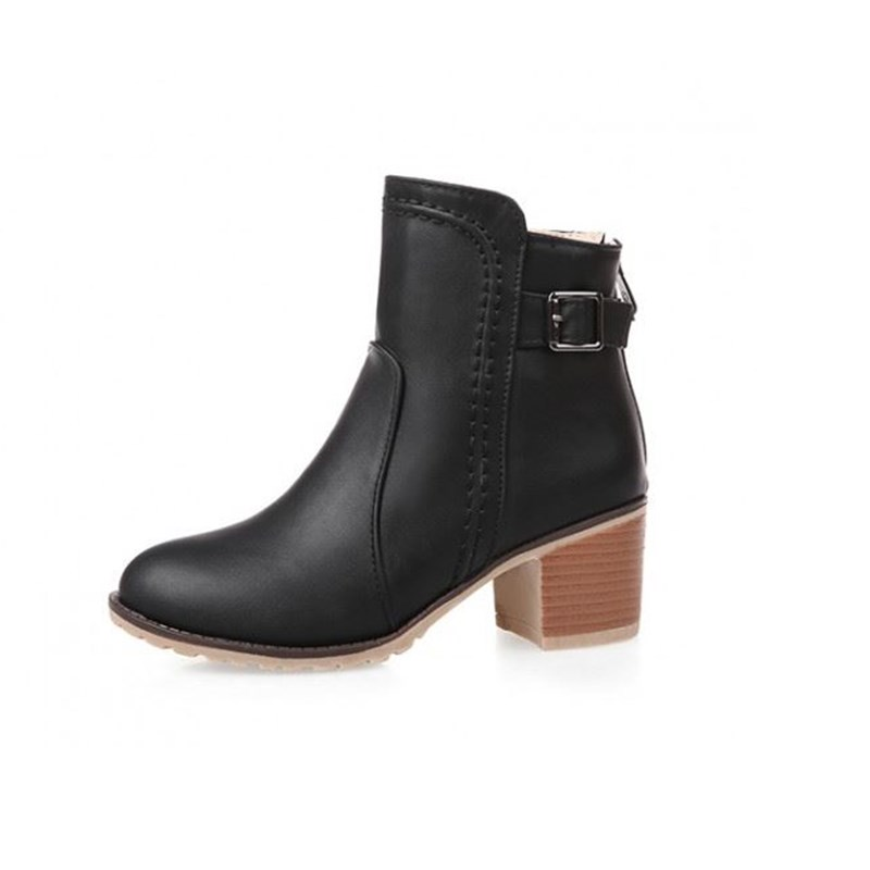 Autumn Winter Women Martin Boots Back Zipper Brief Short Ankle Boots Ladies Casual Thick Heels Boots Shoes Female Round Toe34-43