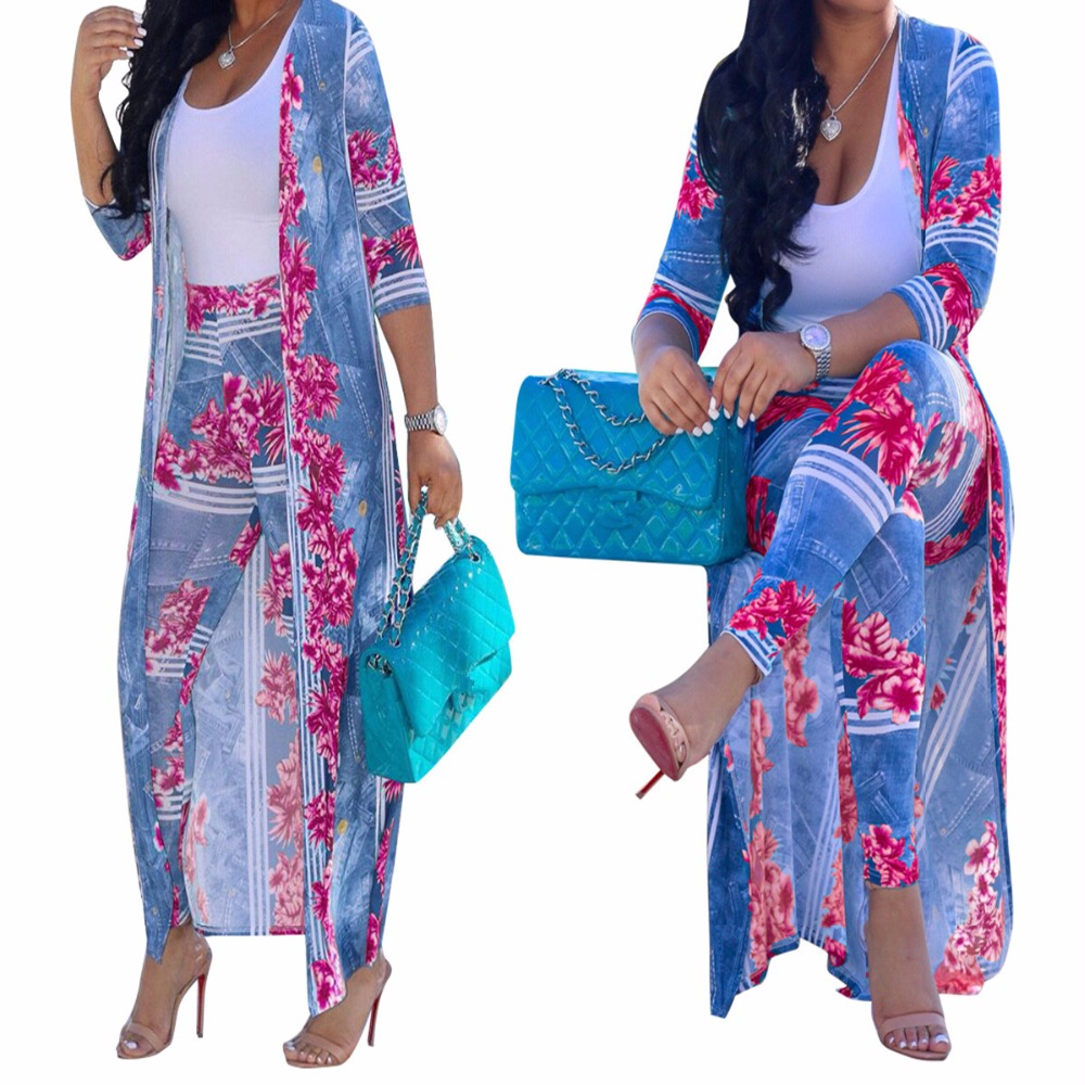 faeabe45eca39 3XL Plus Size Two Pieces Set for Women Long Cardigan and Pants Bohemian Floral  Print Summer