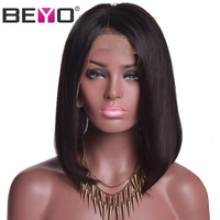 Beyo שיער צפיפות 150% הקצר בוב פאות לנשים שחורות ברזילאי עמוק שיער חלק תחרה מול שיער אדם הלא רמי פרידה פאות