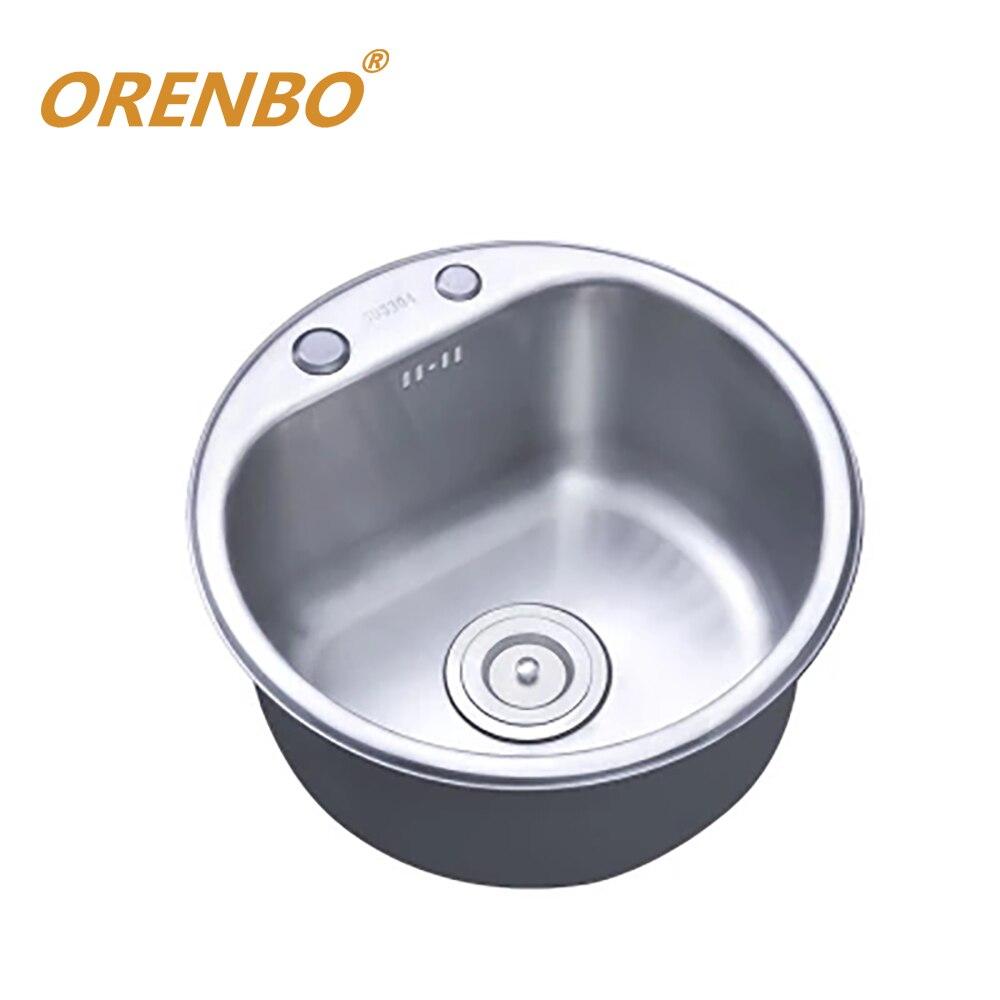 Polissage cuisine évier robinet évier en acier inoxydable simple bol rond évier avec accessoires choix de divers robinets de cuisine