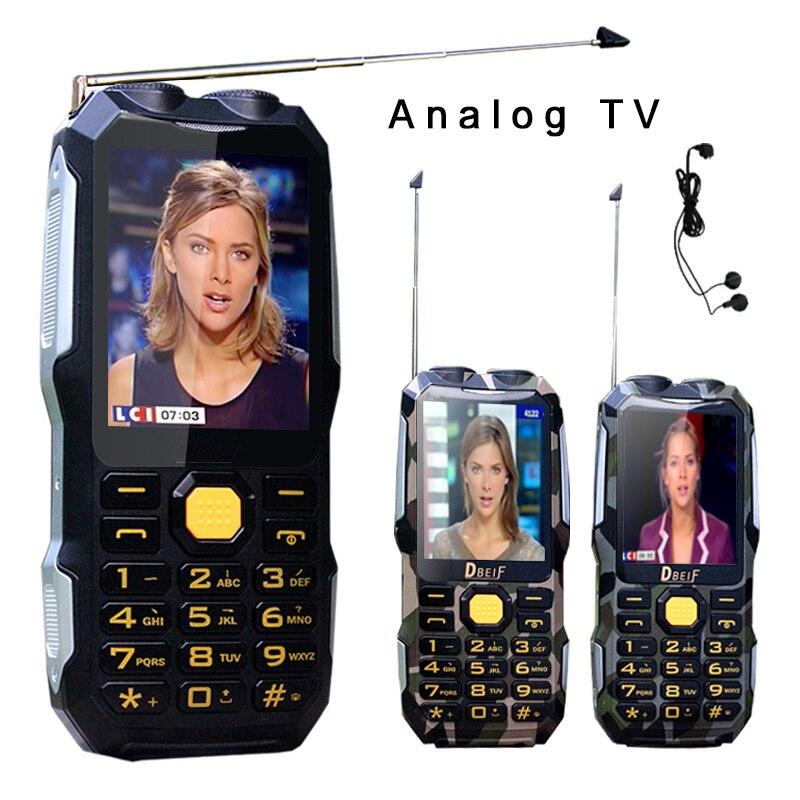 DBEIF D2016 Magic Voice Dual Torcia Elettrica FM Esterna Antiurto Mp3/mp4 Banca di Potere Antenna TV Analogica Rugged Mobile Phone cellulare P242