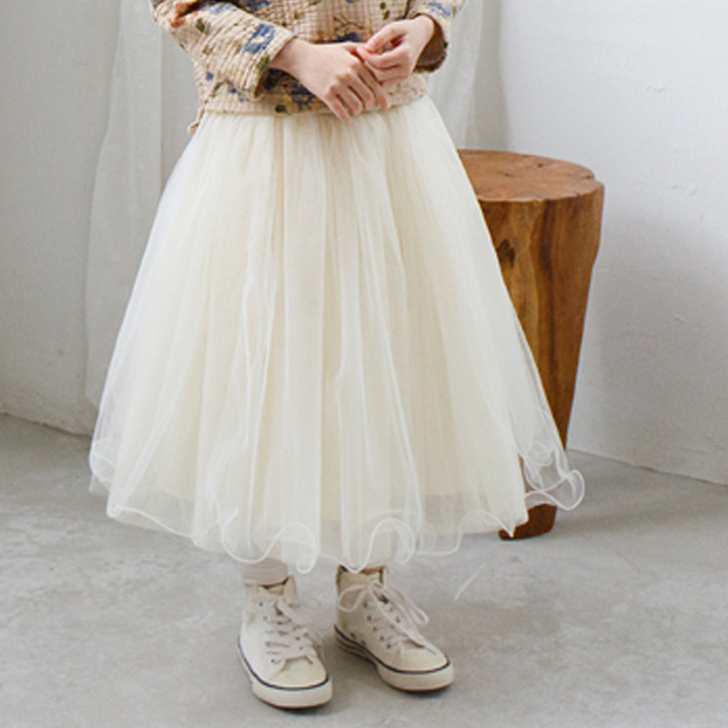 2017 New Arrival Children's Clothing Child Princess Little Girls Casual Tutu Puff Mid-Calf Long Kids Skirt Age 2-10, Beige/ Grey