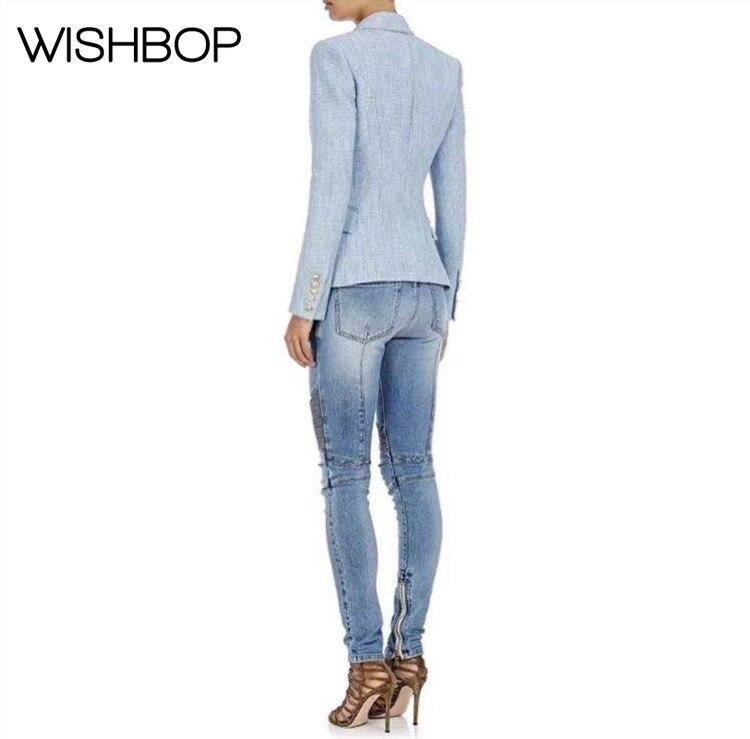 Boutonnage printemps Mode Nouveau Avec Et Poches Costume Pic Ciel Européenne Femmes automne veste Mince Blazer 2018 Double Vente Chaude Bleu Style As qz7xS