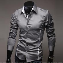 Социальной camisa dropshipping masculina slim fit рубашка печати рубашки повседневная длинным
