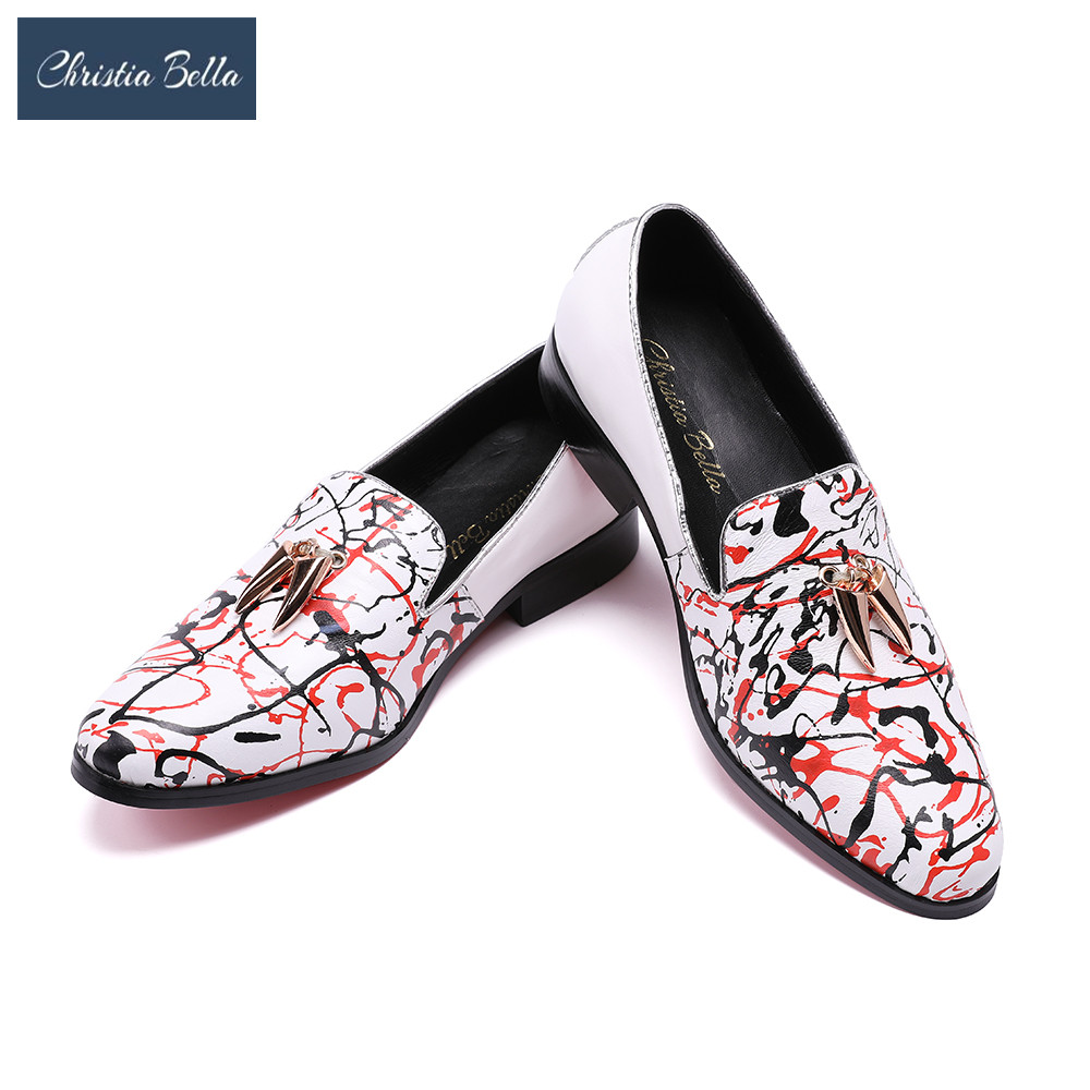 Christia Bella Brand Designer New High-end Graffiti Printing Men Shoes Luxury Fashion Men Loafers Men's Flats Size Plus Size 47 футболка print bar sam & dean page 7