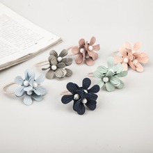 6 Light Colors Triple Satellite Flowers White Rubber Bands Fashion Elastic Hair Bands for Girls Women Headwear