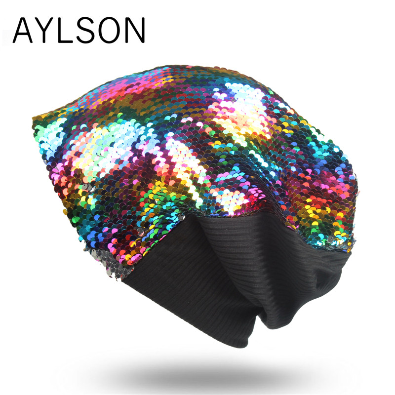 2019 autumn and winter knitted cotton men's hat warm caps sequins hats shiny can change color fashion hip hop clothing   beanies