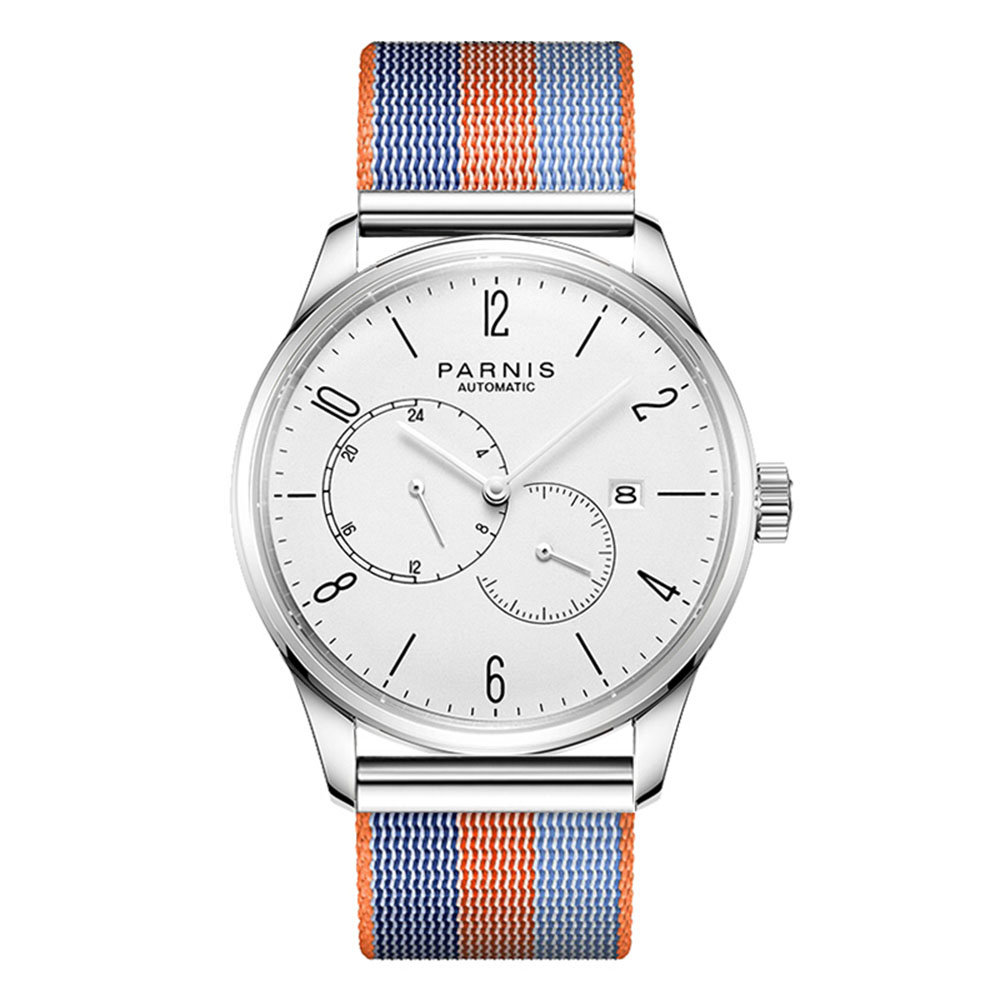 Parnis Business Seriers Mens 100m Waterproof Dual Windows Dial Classic Fashion Automatic Self-Wind Mechanical Watch Wristwatch