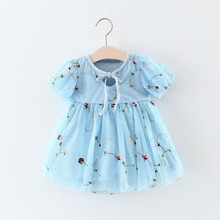 WYNNE GADIS Summer Baby Girls Floral Print Short Sleeve O Neck Wedding Party Mesh Tutu Dress Kids Princess Dresses vestidos