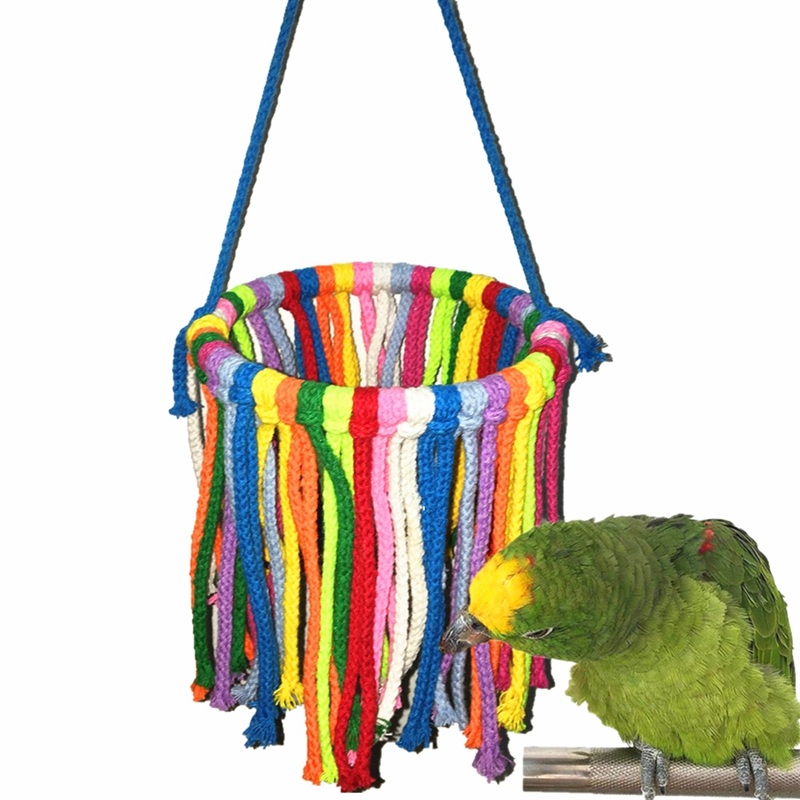 font b Pet b font Bird Parrot Toy Cotton Rope Chewing Bite Hanging Cage Swing