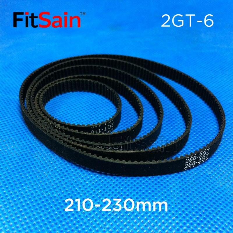 FitSain--2GT Bandwidth 6mm Timing Belt GT2 Conveyor Belt 210mm-230mm Drive Belt Ring with Rubber Belt
