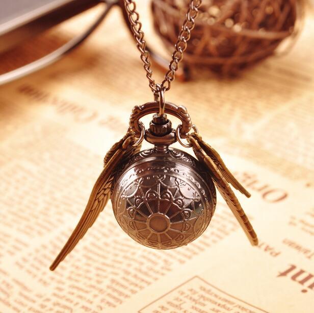 Винтаж Гарри Поттер черный шар крылья снитч кулон Дети Студенты подарок на день рождения Цепочки и ожерелья карманные часы хорошего