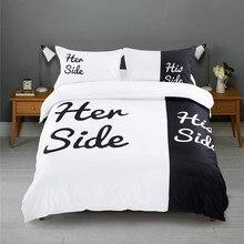 Czarno białe jej boczne jego boczne zestawy pościeli królowa/duży rozmiar podwójne łóżko 3 sztuk/4 sztuk pościel pary zestaw poszewek