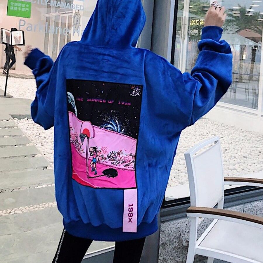 Décontracté lâche velours vestes à capuche femmes hiver Sweatshirts coréen sweat à capuche Harajuku Hip Hop haut Kpop vêtements 5E101