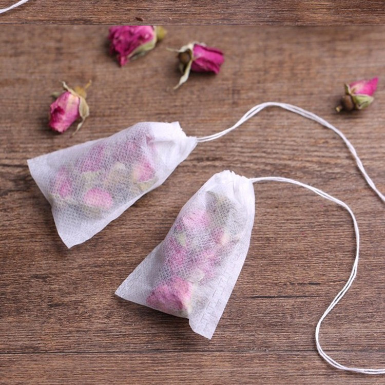 Tea Bags 100Pcs/Lot Empty Scented Drawstring Pouch Bag 5*7CM Seal Filter Cook Herb Spice Loose Coffee Pouches Tools Bolsas De Te