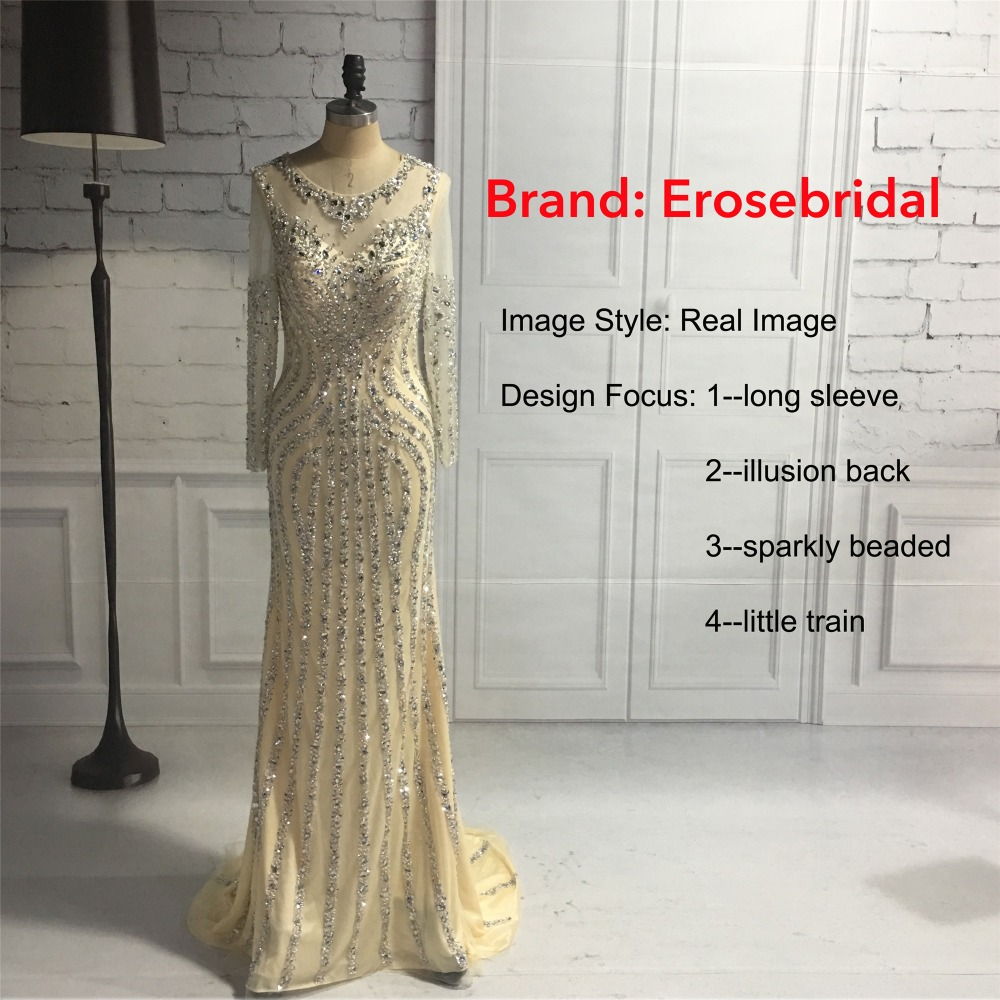 Erosebridal Mermaid Long Sleeve Evening Dress Long 2018 Sparkly Beads Sequined Formal Women Wear with Sweep Train Grey Champagne 5