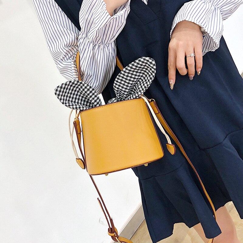 Women\'S Bags PU Leather Crossbody Bag For Women Shoulder Bag Ladies Wild Handbag Solid Bucket Bags
