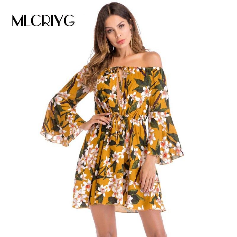 MLCRIYG Fashion Ladies Trumpet Sleeve Printing font b Dress b font 2018 Spring font b Floral