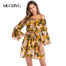 MLCRIYG Fashion Ladies Trumpet Sleeve Printing Dress 2018 Spring Floral Print Sexy Off Shoulder Mini Dress with Waist belt