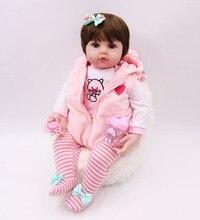 47CM realistyczne reborn maluch bebe doll reborn baby girl miękkiego silikonu winylu nadziewane ciało boże narodzenie surprice prezenty lalki