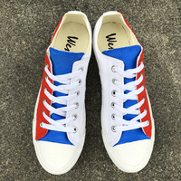 Wen Hand Painted Shoes Original Design Russia Flag Low Top Canvas Shoes Breathable Sneakers Skateboarding Plimsolls Lace up Flat