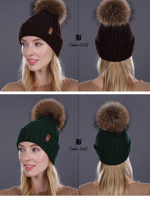 [FLB] Wholesale Real Mink Fur Pom Poms Knitted Hat Ball Beanies Winter Hat For Women Girl 'S Wool Hat Cotton Skullies Female Cap 39