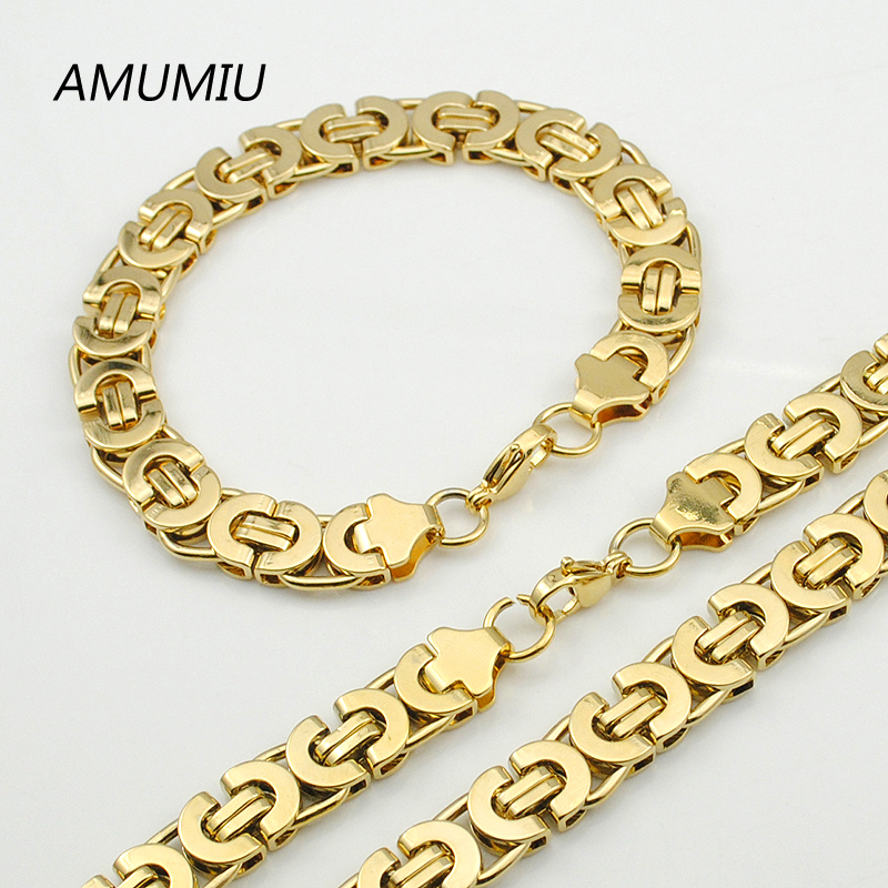 AMUMIU Mens Warna Emas Rantai Stainless Steel Kalung Gelang set Datar Bizantium kalung fashion wanita Punk Party HZTZ050