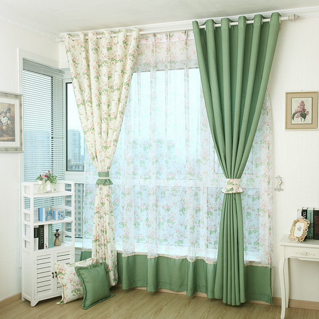Window Curtain Patterns Curtains For Living Room Green Flower Blackout Sheer Screen Modern Cortina Para Sala
