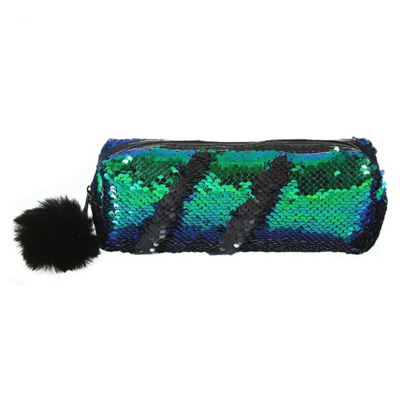 Shining Sequin Large Pencil Case Stationery Storage Pen Organizer Bag School Office Supply Cosmetic Holder For Gift Green + Bl