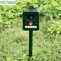 VICTMAX 6 5V Solar Powered Ultrasonic Bird Repeller Eco Friendly Infrared Animal Repeller Device Grass Green