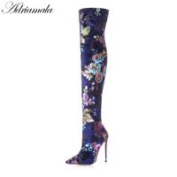 2018 Autumn Sexy High Heels Over The Knee Boots For Women Pointed Toe Fashion Thigh High Boots For Plus Size Women Adriamala