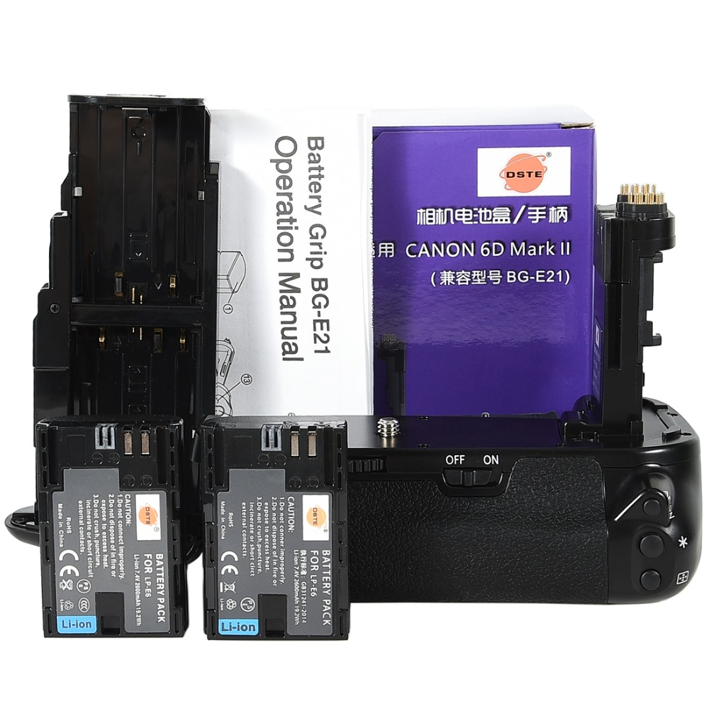 Poignée de batterie DSTE BG-E21 avec 2 pièces LP-E6 pour Canon 6D Mark II