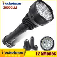 20000 Lumens LED Flashlight 15* XM L2 LED 5 Modes Waterproof Super Bright LED Torch Flashlight Linterna Lampe Torche Lamp