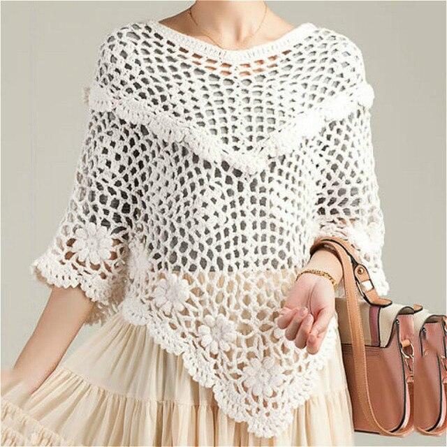 Women Batwing Knitwear Sleeve Hem Loose Pullover Blouse Irregularity Cloak Poncho Cape Tops Knitting Sweater Coat Shawl Outwear