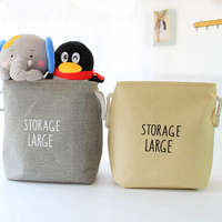 Large Storage Box for Toys Cotton Linen Desktop Storage Organizer Sundries Cabinet Folding Storage Basket Laundry Bask