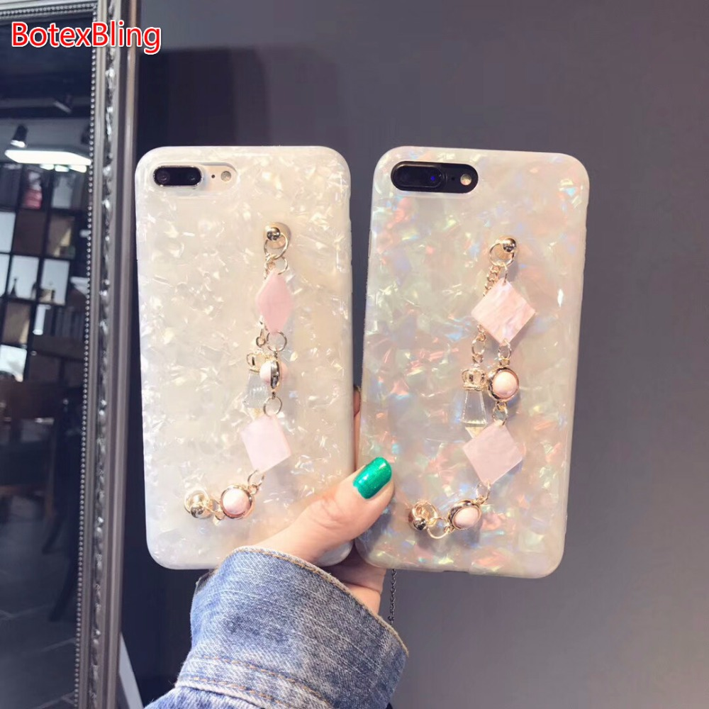 BotexBling Summer Luxury marble Deer bracelet glitter chain phone case for iphone X 8 8plus 7 7plus 6 6s plus 6plus girl laser